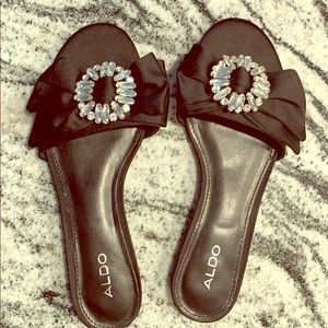 NEW Aldo crystal satin flat sandals